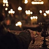 """Walder"" holding that same golden chalice while making a speech at the Red Wedding Revenge"