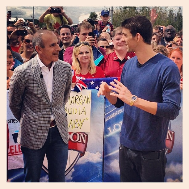 Matt Lauer chatted with Michael Phelps about his historic week in London. Source: Instagram user todayshow