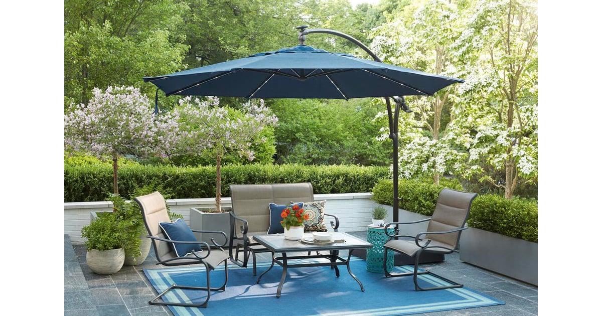 Hampton Bay Solar LED Offset Patio Umbrella   Best ...