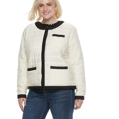 POPSUGAR Plus Size Colorblock Puffer Jacket