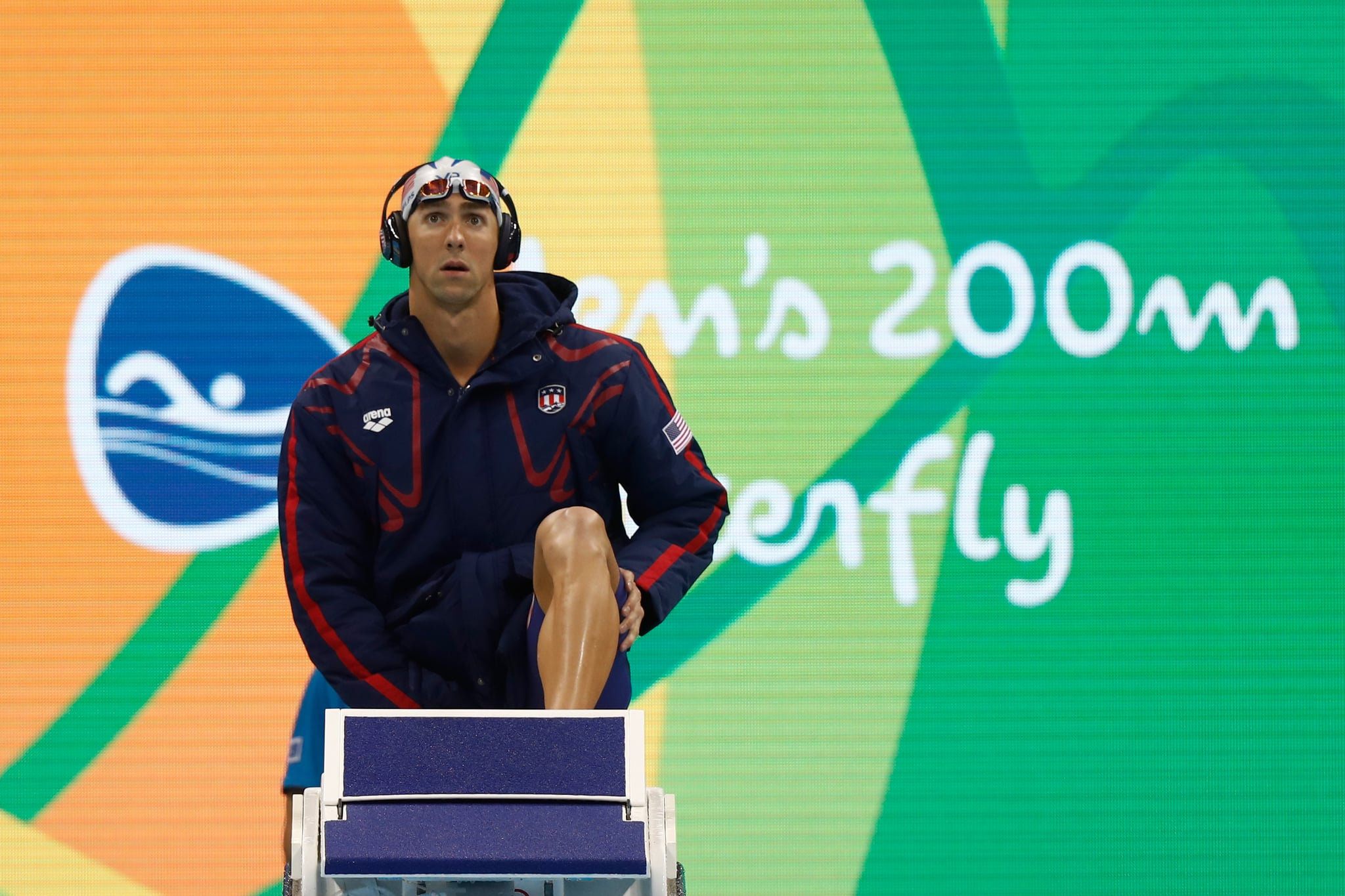 RIO DE JANEIRO, BRAZIL - AUGUST 08:  Michael Phelps of the United States prepares for his Men's 200m Butterfly heat on Day 3 of the Rio 2016 Olympic Games at the Olympic Aquatics Stadium on August 8, 2016 in Rio de Janeiro, Brazil.  (Photo by Clive Rose/Getty Images)