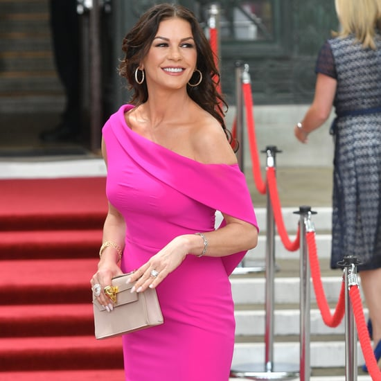 Catherine Zeta-Jones Pink Dress For Swansea Visit July 2019