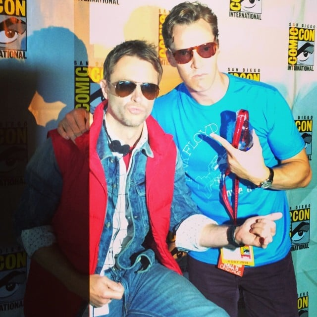 Chris Hardwick and Benedict Cumberbatch looked supercool in their shades. Source: Instagram user nerdist