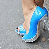 Glittered soles gave these sky-blue heels a glam finish. Source: IMAXtree