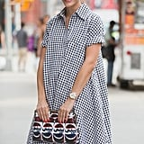 Carry a Clutch With a Gingham Dress