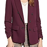 1.State Ruched-Sleeve Stretch Crepe Blazer