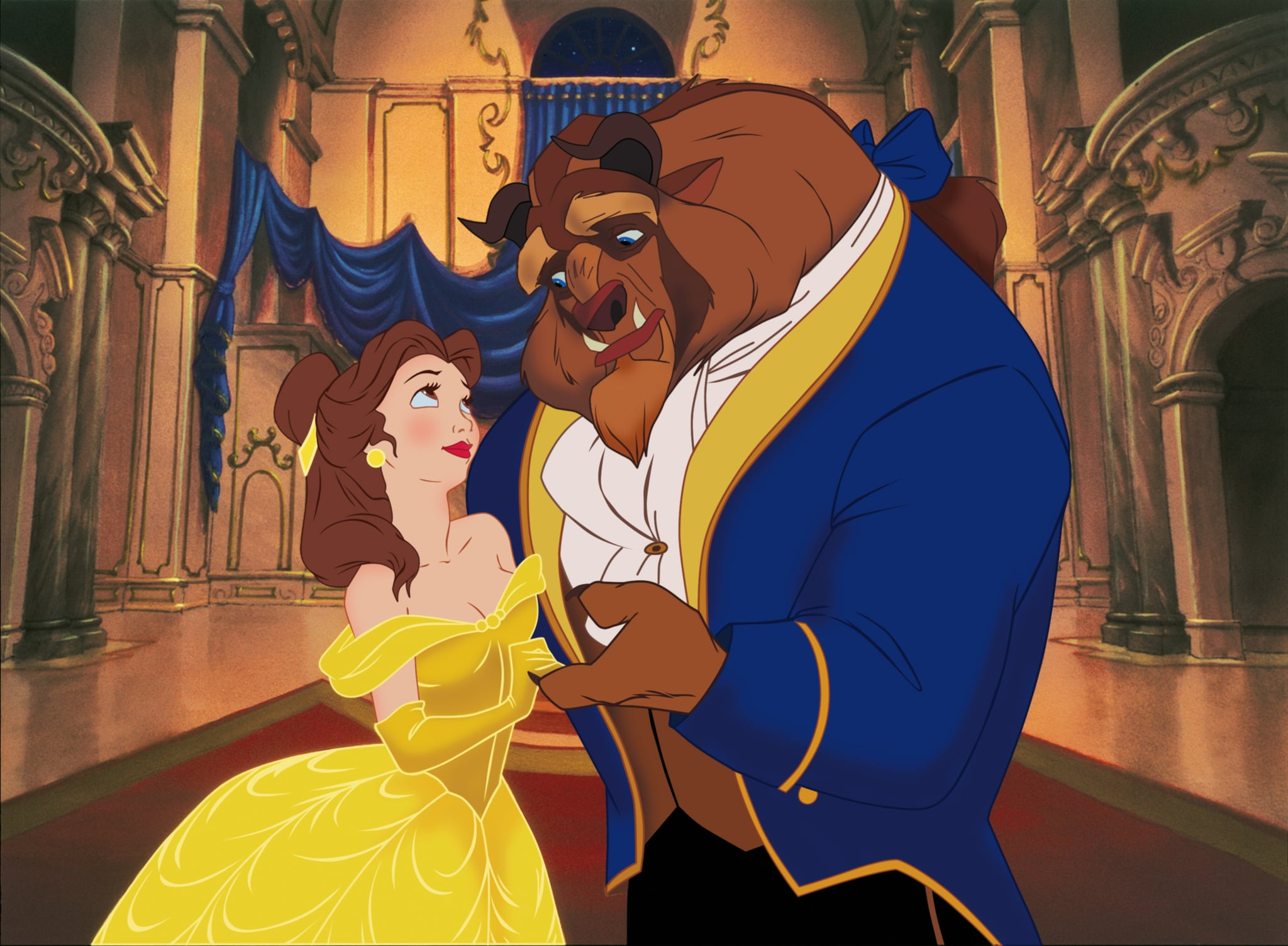 BEAUTY AND THE BEAST, l-r: Belle (voice: Paige O'Hara), Beast (voice: Robby Benson) in 2012 3D re-release, 1991, Walt Disney Pictures/courtesy Everett Collection