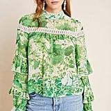 Angelina Ruffle-Sleeved Silk Peasant Blouse