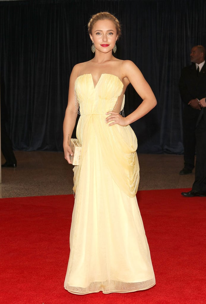 Hayden Panettiere channeled her inner Grecian goddess in a soft, yellow silk-tulle draped gown by Katharine Kidd.