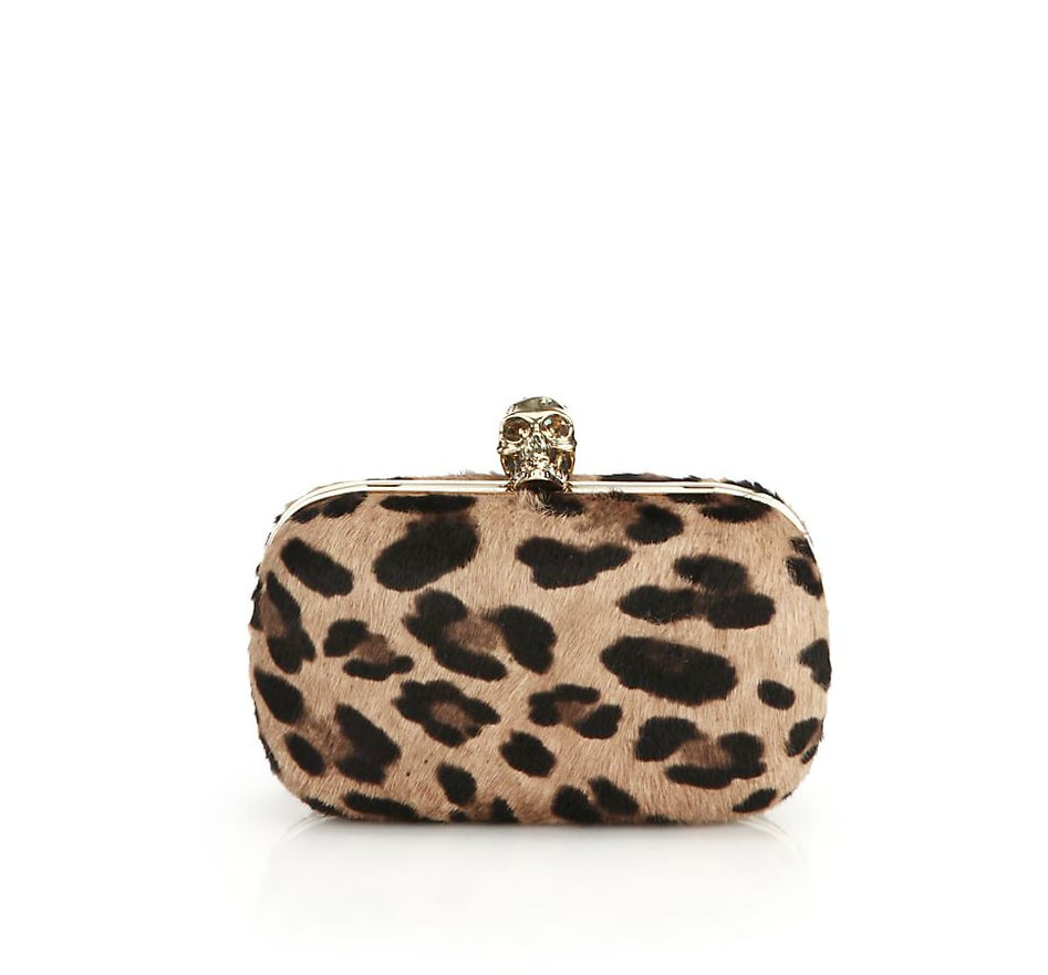 Alexander McQueen Leopard-Print Calf Hair Box Clutch ($1,995)