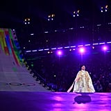 Sumi Hwang performs the Olympic Anthem.
