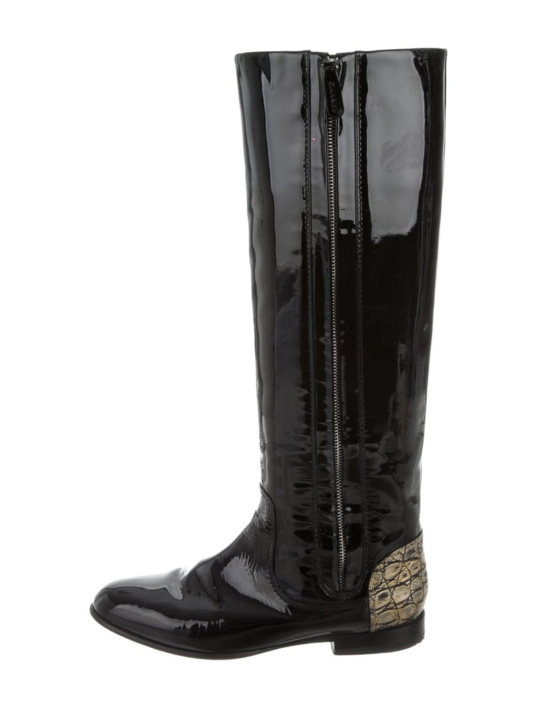 chanel knee high boots. chanel patent leather knee-high boots knee high e