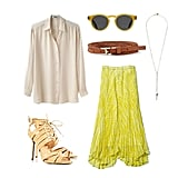 Channel a polished day look with ladylike pleats and a breezy button-down on top. Add in a pair of neutral heels for a style that'll translate perfectly to family lunch after the ceremony.  Get the look:  Illesteva Leonard Sunglasses ($165) Acne Shining Button Down Shirt ($250) Topshop Riot Lace Cut Out Sandals ($160) Vince Camuto Single Braid Belt ($36) Club Monaco Lonnie Long Lemondrop Skirt ($160) B.Lo Muse Necklace ($53)