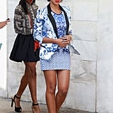 Solange Knowles worked her signature print-on-print while out and about at the shows.
