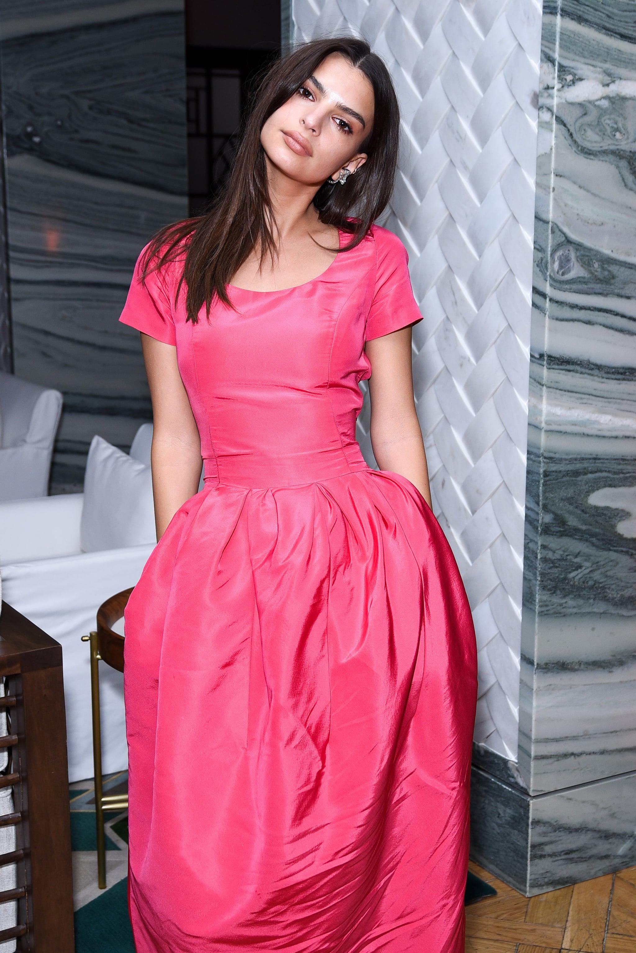 Emily Ratajkowski Pink Dress at Welcome Home Premiere 2018   POPSUGAR  Fashion