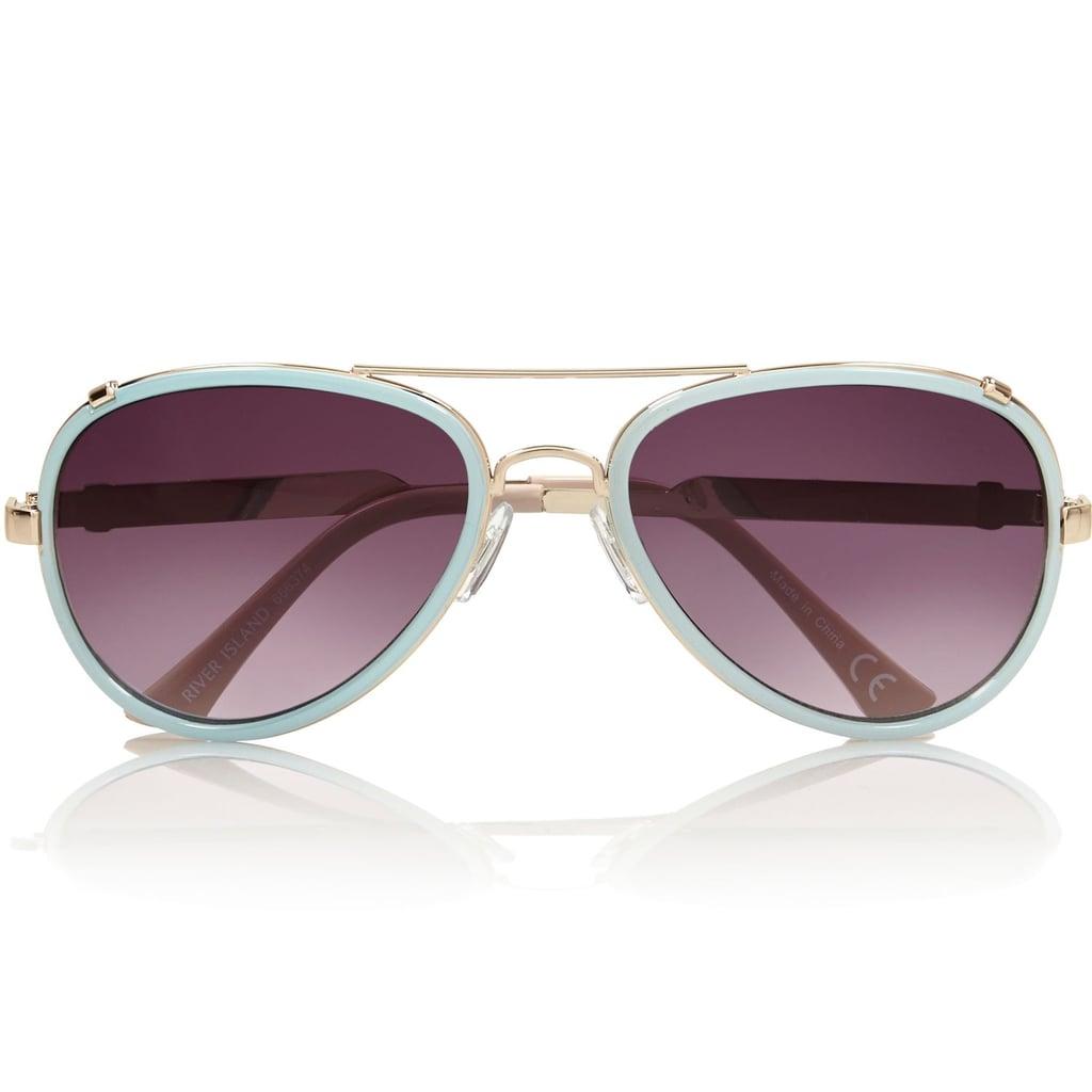 River Island Light Blue Aviator Sunglasses