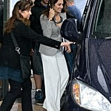 Penelope Cruz headed for a car.