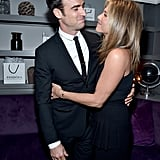 Jennifer Aniston and Justin Theroux showed PDA at the cocktail party for her film Cake on Monday.