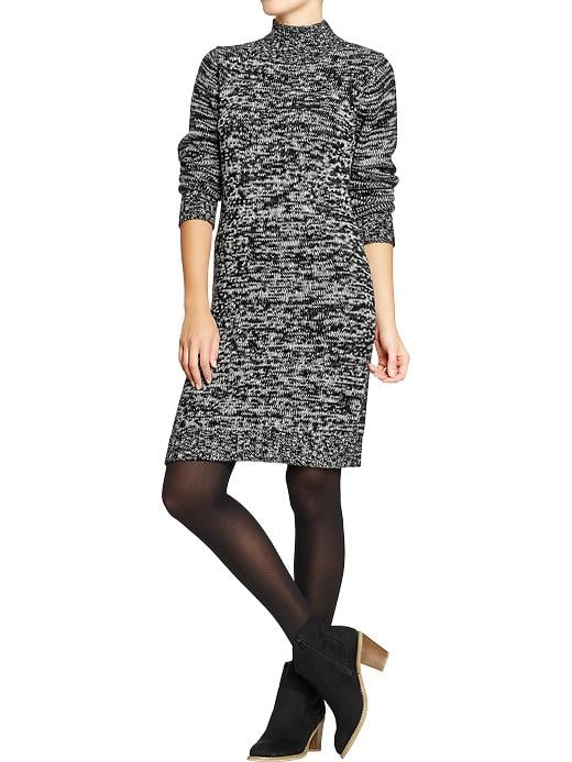 Old Navy's marled sweater dress ($47) would look office-appropriate with tights and patent booties.