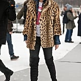 This rock 'n' roll look relied on a leopard coat and a vintage tee; very Kate Moss, no? Source: Adam Katz Sinding