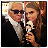 Cara Delevingne posed with Karl Lagerfeld (and a Karl Lagerfeld doll). Source: Twitter user Caradelevingne