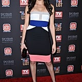 Meghan Wearing a Colorblock Strapless Number
