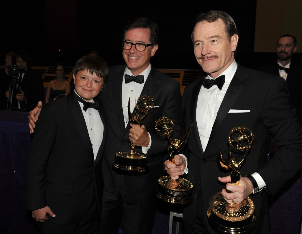 Stephen Colbert and his son partied with Bryan Cranston at the Governors Ball.