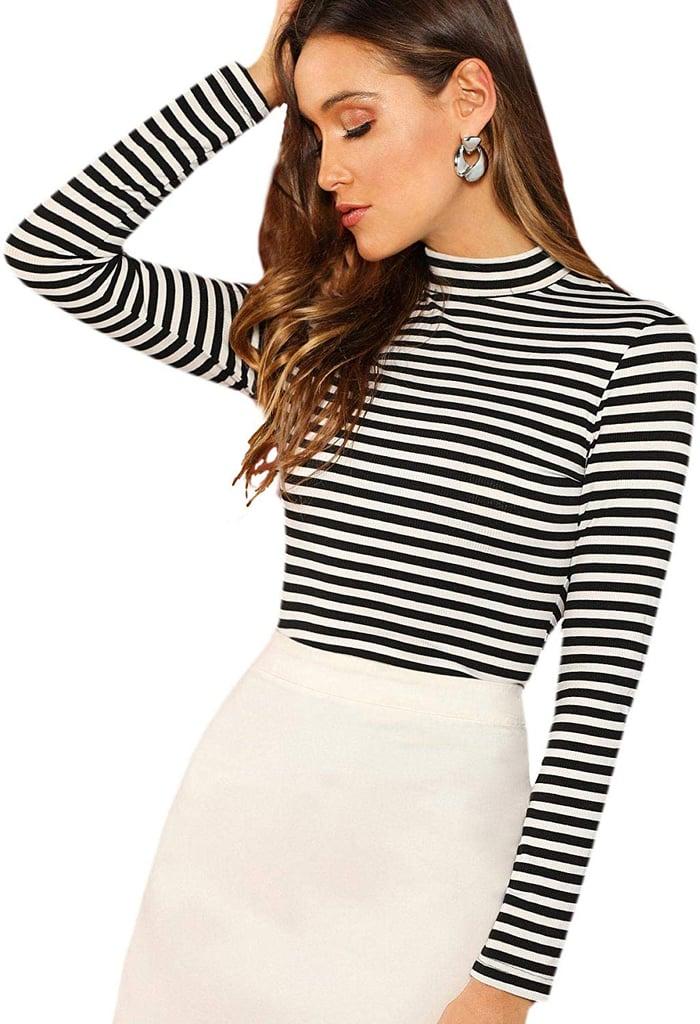 Floerns Striped Long-Sleeved T-Shirt