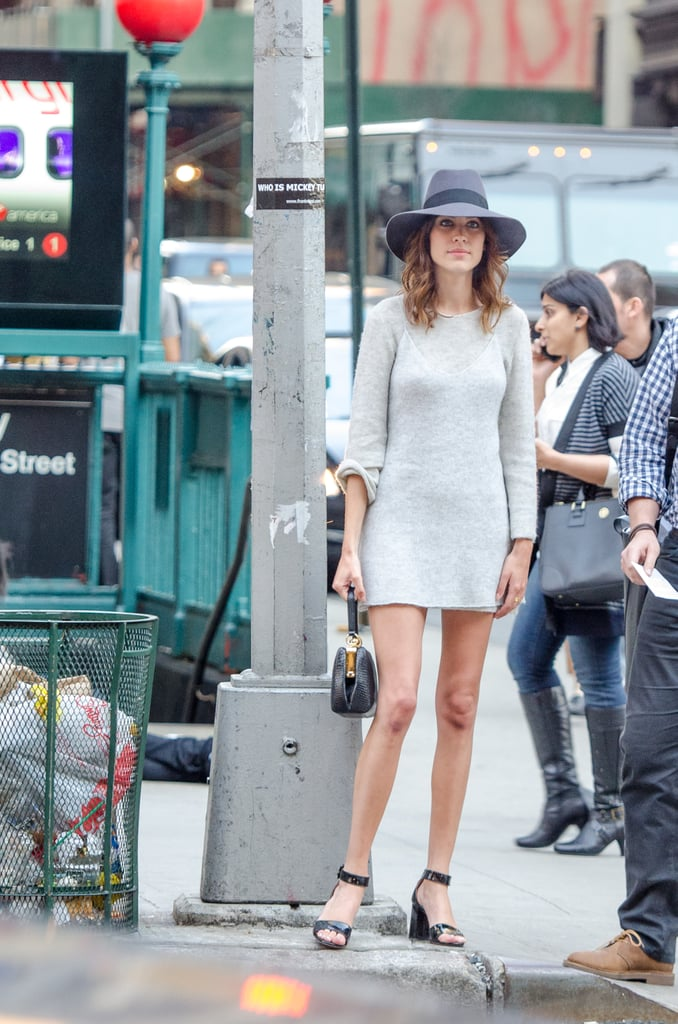 Alexa Chung in a Gray Calvin Klein Sweater Dress