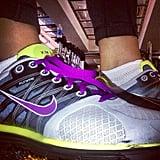 "Kim Kardashian shared a snap of her custom ""Kim"" Nike sneakers.  Source: Instagram user kimkardashian"