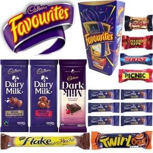 Cadbury Favourites Showbag ($20) Includes:  320g Box of Cadbury Favourites  135g Dairy Milk Bar  135g Dairy Milk Fruit & Nut