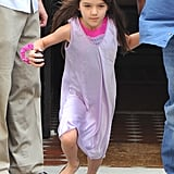 Suri Cruise wore a dress and flats in NYC.