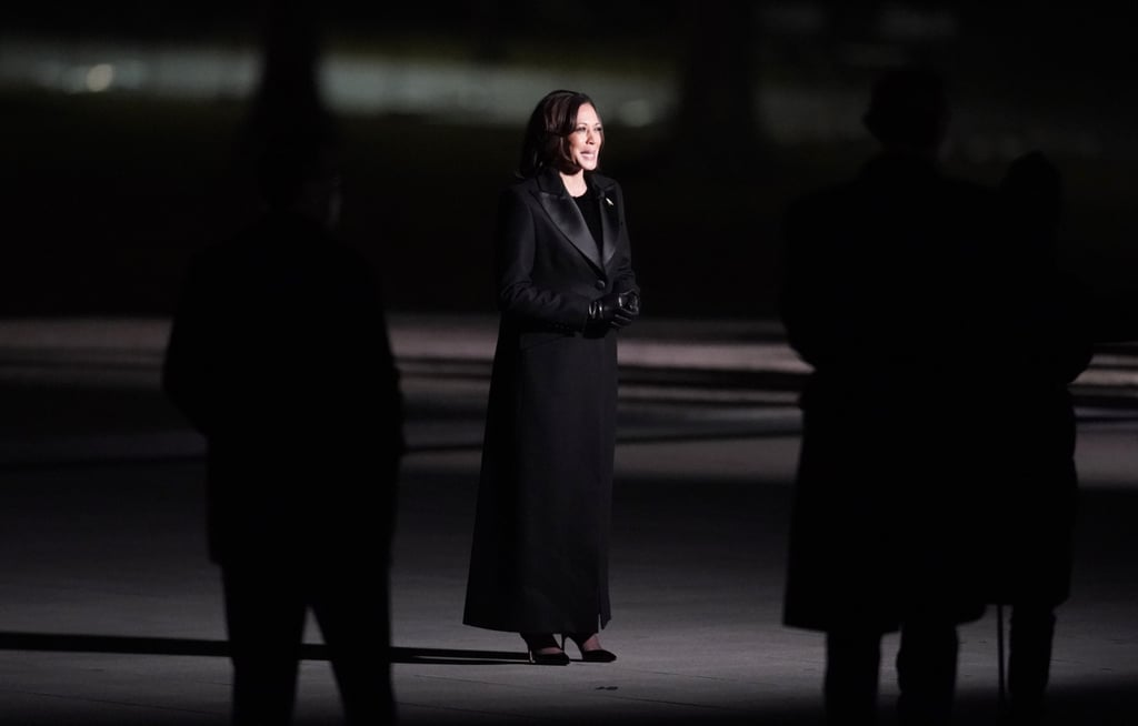 Kamala Harris Wearing Sergio Hudson Tuxedo Coat and Dress