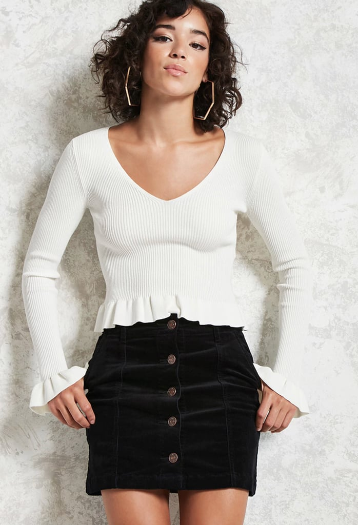 Forever 21 Corduroy Buttoned Skirt