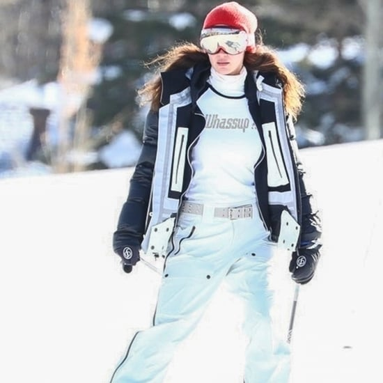 """Bella Hadid Went Skiing in Aspen Wearing a """"Whassup"""" Shirt"""