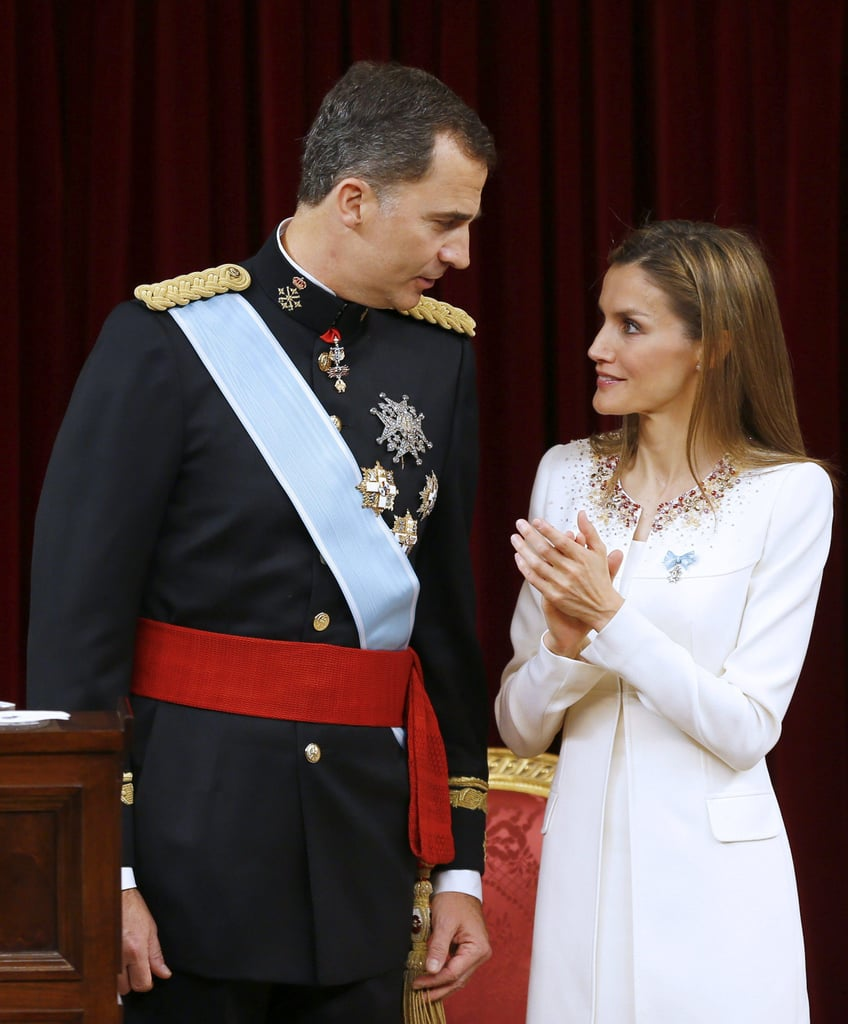 King Felipe and Queen Letizia of Spain had a sweet moment at their coronation ceremony in Madrid on Thursday.