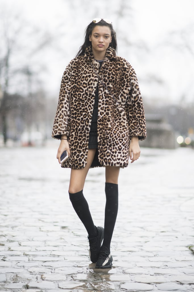 Be Sporty About It and Work the Print With Knee Socks and Trainers