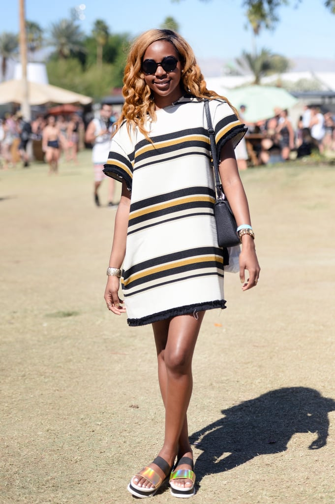 A striped shift dress