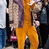 Gigi Hadid Left the Oscar de la Renta Show in a Velour Jumpsuit and Moto Jacket