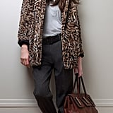 Gwen Faux Fur Coat ($349), Astrid Tank ($39), Kaylyn Pleated Pants ($139), Renee Fedora, Aleksandra Satchel