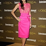 Allison looked lovely in a hot-pink knee-length Oscar dress at a pre-Emmys party in 2012.