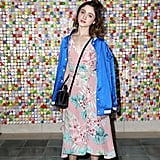 Natalia Dyer wore a floral Privacy Please dress and bomber jacket at #REVOLVEfestival.
