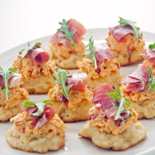 Pimento Cheese, Prosciutto, and Drop Biscuit Bites
