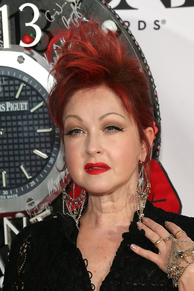 If there's anyone who can pair her lipstick to her hair, it's Cyndi Lauper. The singer opted for a red-on-red pairing.