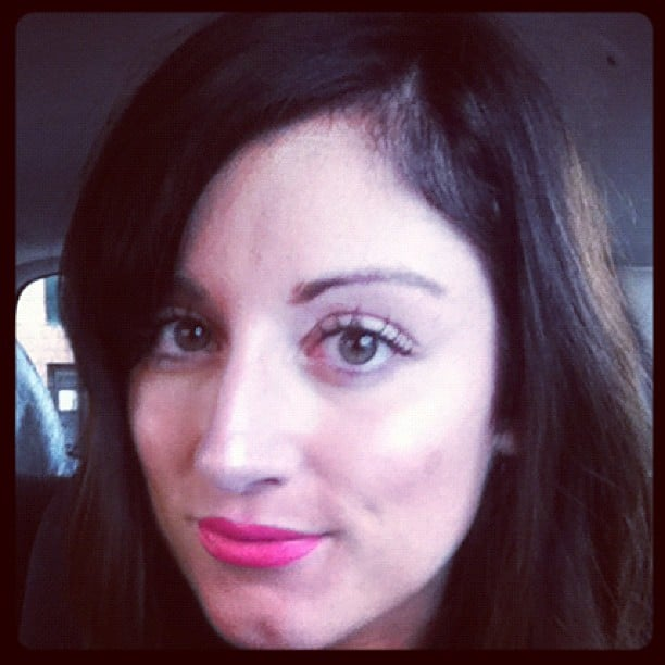 Sarah tried a bright pink lip to combat the long days. This one's Pink Peony by Innoxa.