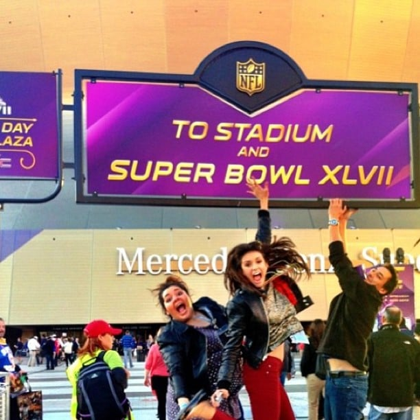 Nina Dobrev and her friends were jumping for joy outside of the Superdome for the Super Bowl in January 2013. Source: Instagram user ninadobrev
