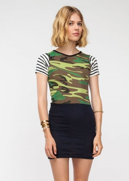 Edith A. Miller's combo crewneck dress ($161) combines stripes and camo for a knockout little day dress — not to mention an ultraflattering colorblock effect.