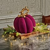 Grandin Road Medium Ornate Velvet Pumpkin in Plum