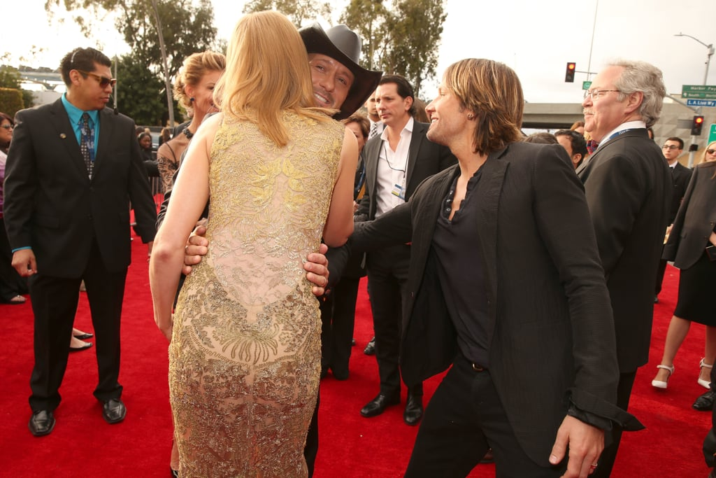 Nicole Kidman hugged Tim McGraw at the Grammys Sunday night in LA.