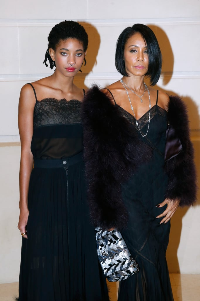"Jada Pinkett Smith and daughter Willow attended a Chanel fashion show in Paris on Tuesday looking fierce as hell. In addition to donning matching black-on-black outfits, the mother-daughter duo served up some serious face while posing for pictures inside the Hotel Ritz. Clearly aware of how good they looked, Jada uploaded a photo of her and Willow on Twitter, writing, ""Mommie Daughter night in Paris."" Missing from the fun, though, was Jada's husband Will, who stopped by Jimmy Kimmel Live! on Monday night to promote his upcoming film, Collateral Beauty. During his appearance, the actor told a hilarious story about a time he had to ask a fan to lend him $10 for gas — yes, really.        Related:                                                                The Smith Family's Most Memorable Red Carpet Moments                                                                   Will and Jada Reveal the Secrets to Their Nearly 20-Year Marriage"